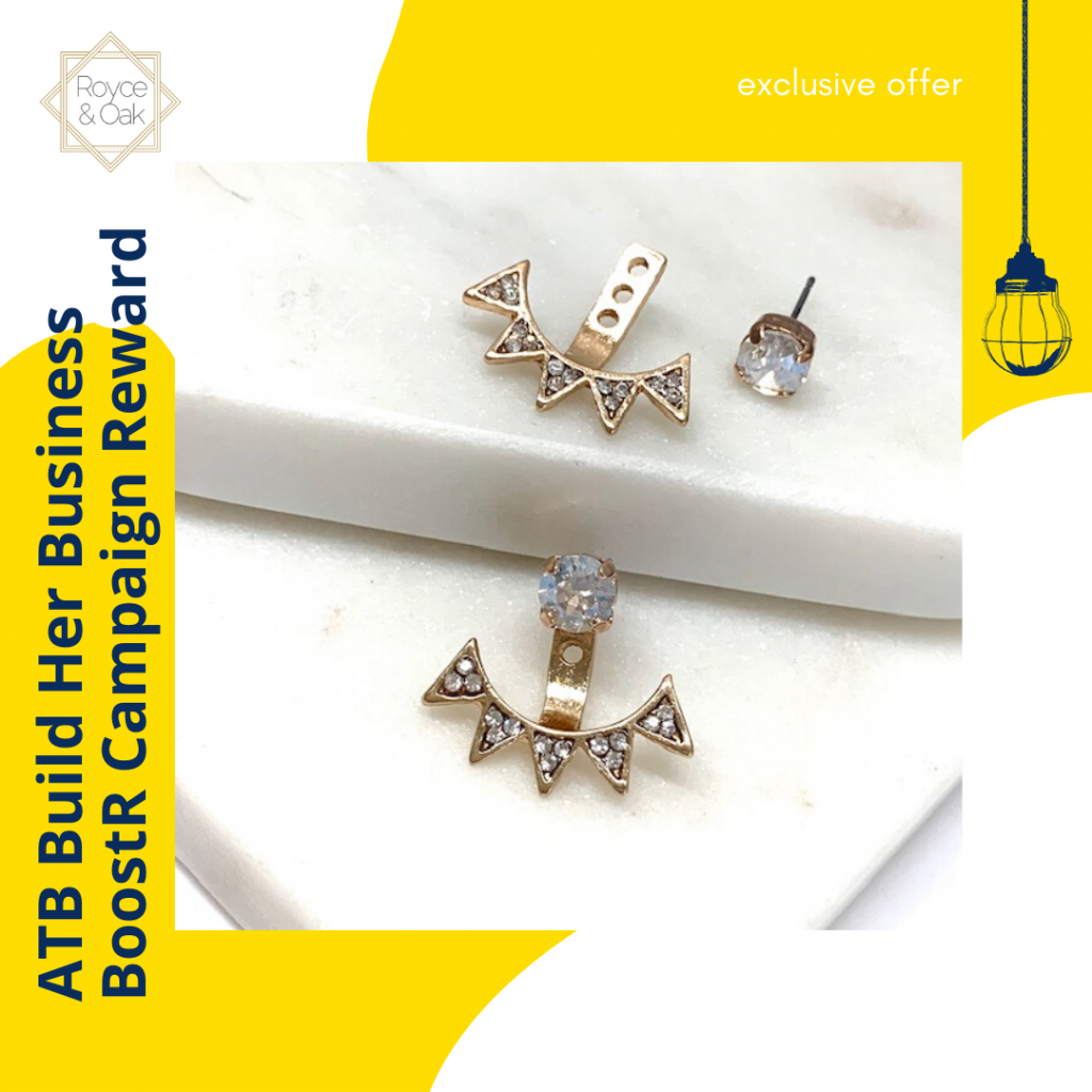 Thumbnail of: Beautiful Swarovski Crystal Stud with Gold Ear Jacket by Royce & Oak
