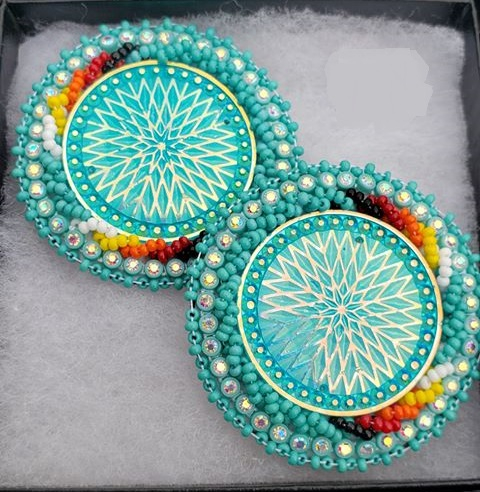 Thumbnail of: Hand Beaded earrings in turquoise and fire colors