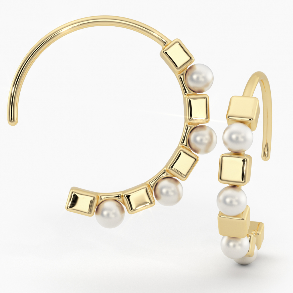 Thumbnail of: 14K GOLD AND PEARL HOOPS