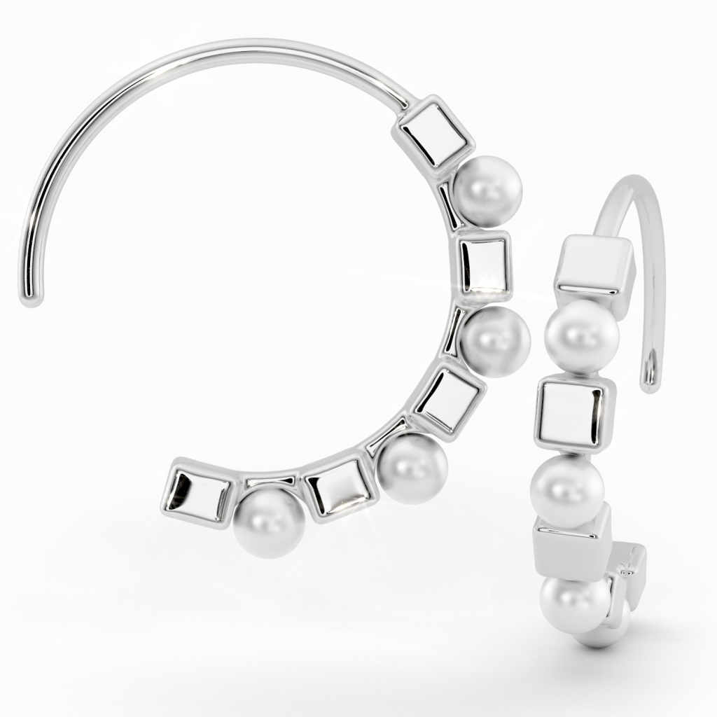 Thumbnail of: STERLING SILVER AND PEARL HOOPS