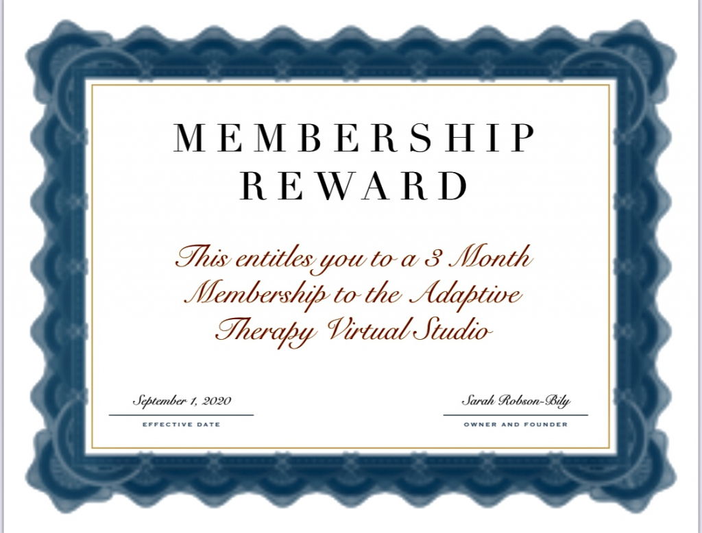 Thumbnail of: 3 Month Membership to Online Adaptive Therapy Studio.