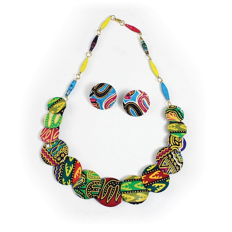 Thumbnail of: Kitenge Disc Necklace and Earrings