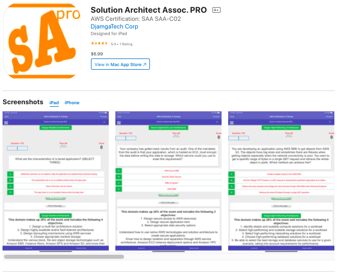 Thumbnail of: 1 AWS Solution Architect Associate Exam Preparation Mobile App for IOS , Android, or Windos