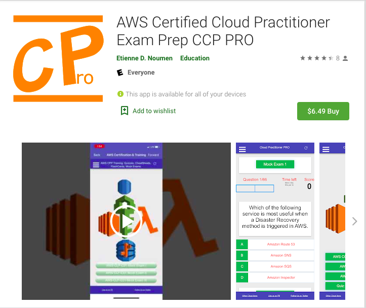 Thumbnail of: 1 AWS Cloud Practitioner Exam Preparation PRO App for iOS, Android, or  Windows