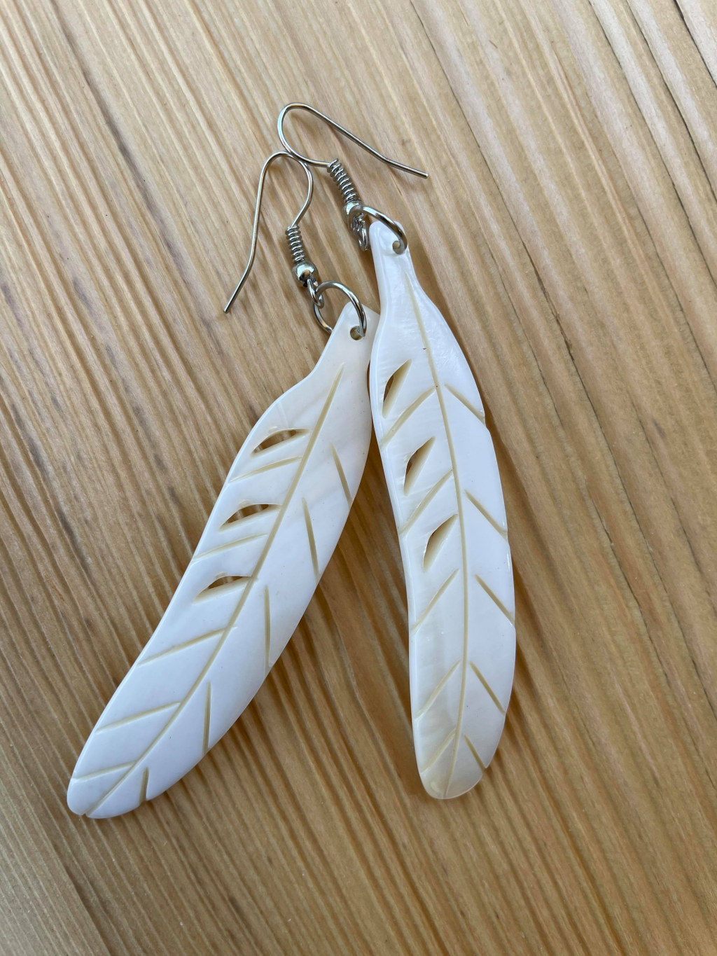 Thumbnail of: Carved Feather Earrings